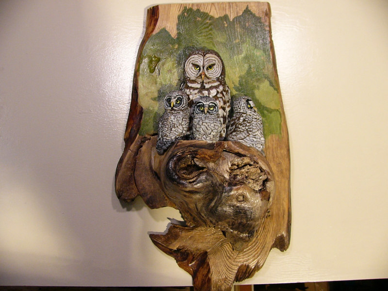 Great Grey Owls sculpture
