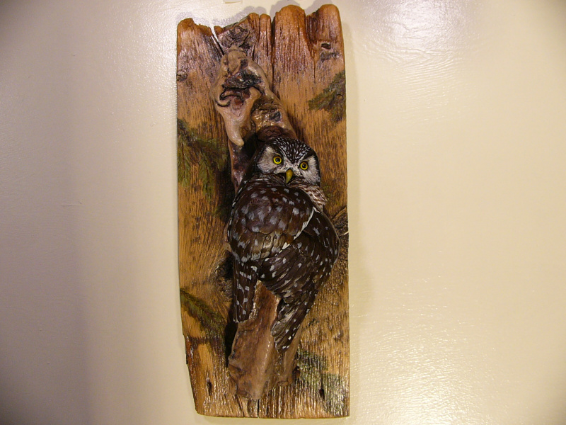 Northern Hawk Owl sculpture