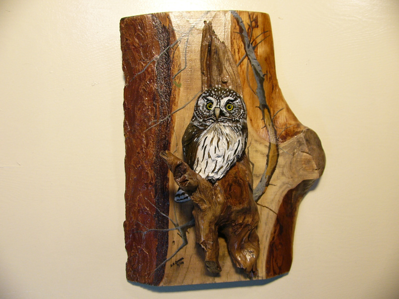 Northern Pygmy Owl sculpture