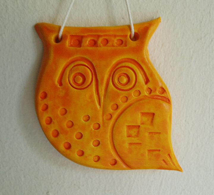Ceramic owl art