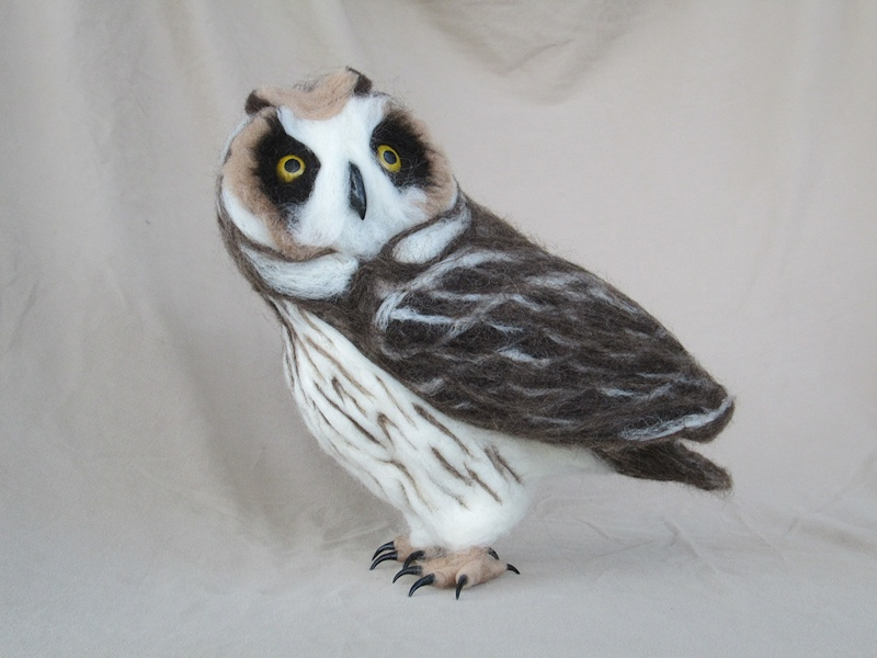 Needle-felted Short-eared Owl
