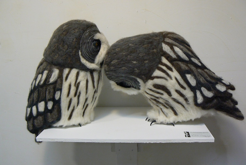 Needle-felted Great Grey Owls