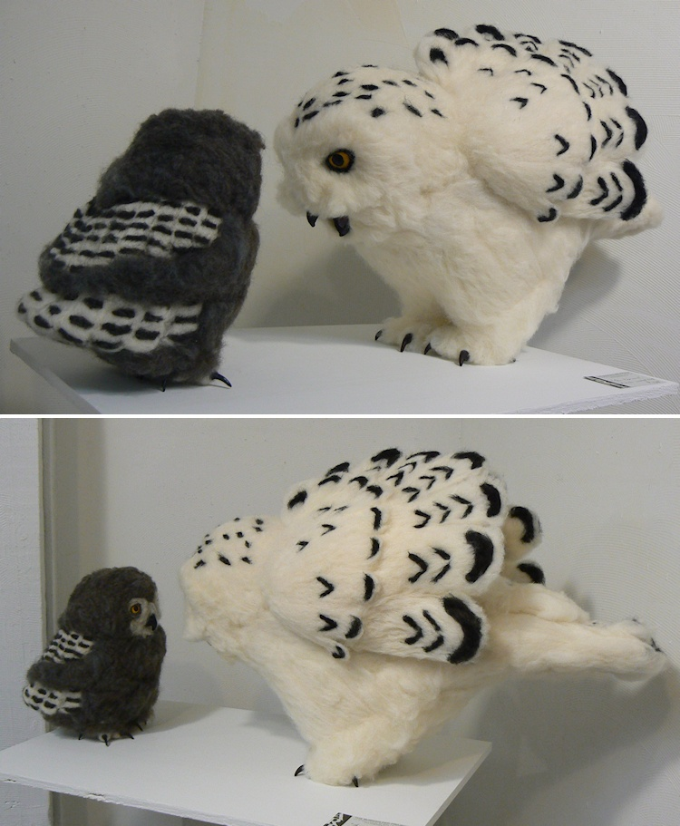 Needle-felted Snowy Owls