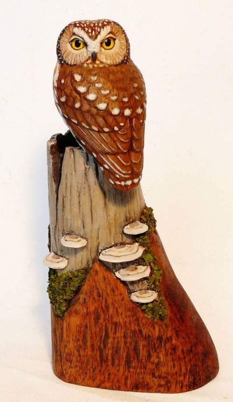 Northern Saw-whet Owl carving