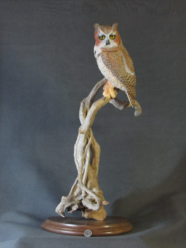 Great Horned Owl Carving
