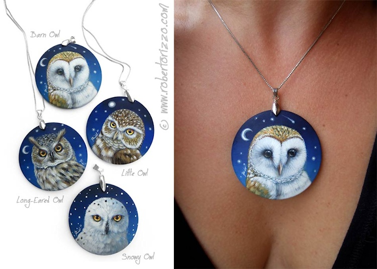 hand painted owl necklaces