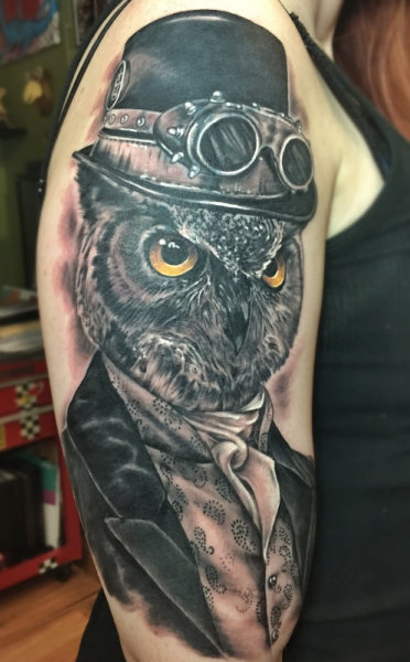 Steampunk Owl tattoo