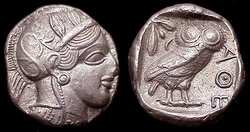Athenian tetradrachm from after 499 BCE