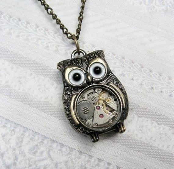 Vintage Style Owl Necklace Nightbird Smart Girl Gift For Teacher Animal Mystic Jewelry Steampunk Owl Necklace Medium Owl Lover Gifts