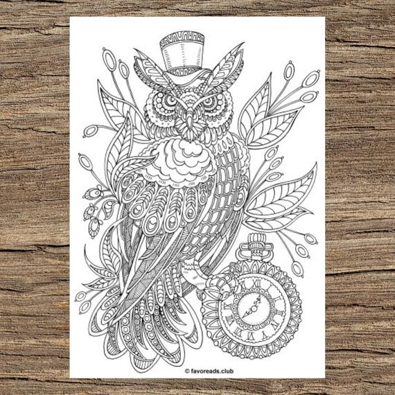 Steampunk Owl Printable Adult Coloring Page From Favoreads Coloring Book Pages For Adults And Kids Coloring Sheets Coloring Designs By Anastasia The Owl Pages